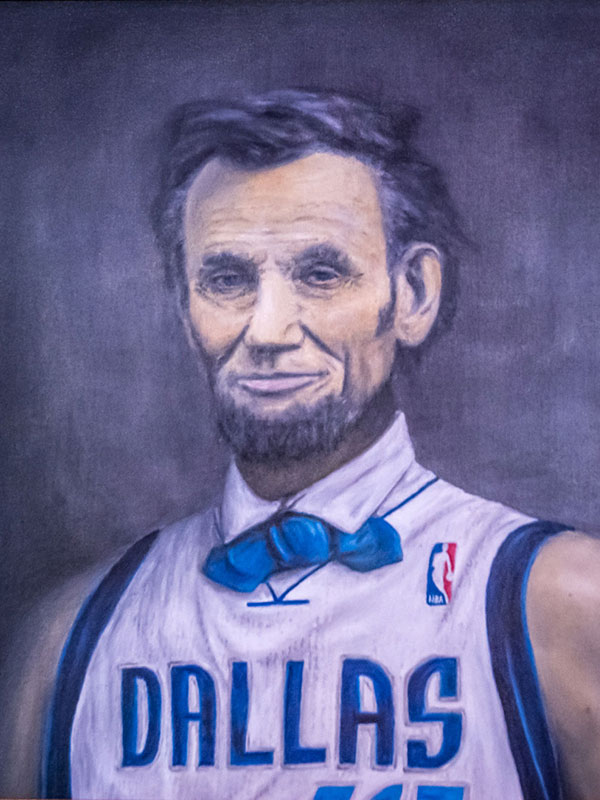 A painting of Abraham Lincoln wearing a Dallas basketball jersey.
