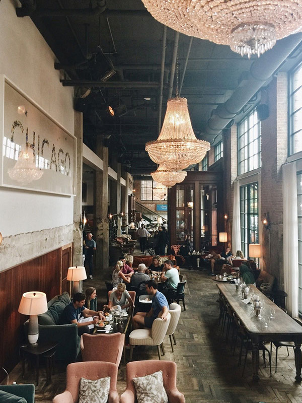 Upscale, yet industrial decor.